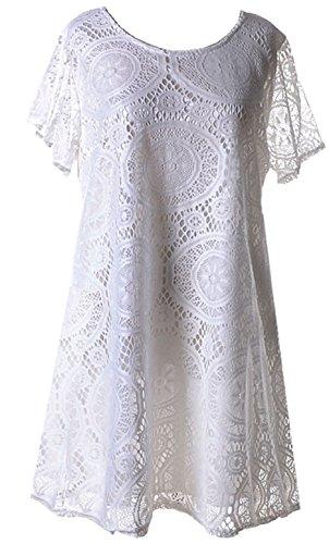 a Maniche Corte Floreale a Fiori Pizzo Overlay Mini Babydoll svasato a trapezioe di maternità T-Shirt Maglietta Vestito Abito Bianco