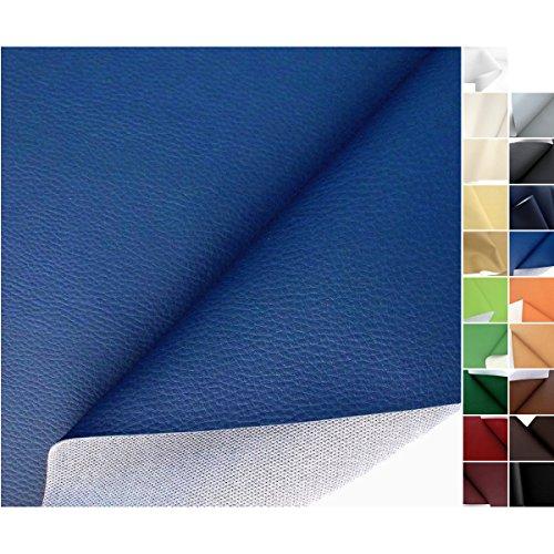 Leder Blau (TOLKO® Polsterstoffe Kunstleder Meterware in Blau als robuster PREMIUM Bezugsstoff / Möbelstoff)