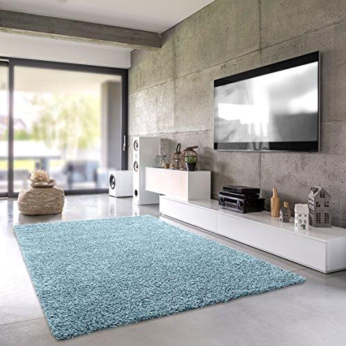 Shaggy-Teppich Pastell | Flauschige Hochflor Teppiche fürs Wohnzimmer, Esszimmer, Schlafzimmer oder Kinderzimmer | Einfarbig, Schadstoffgeprüft (Aqua - 40 x 60 cm)