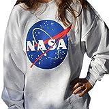 Allentato manica lunga girocollo casual camicia modello Nasa donne in cotone T-shirt