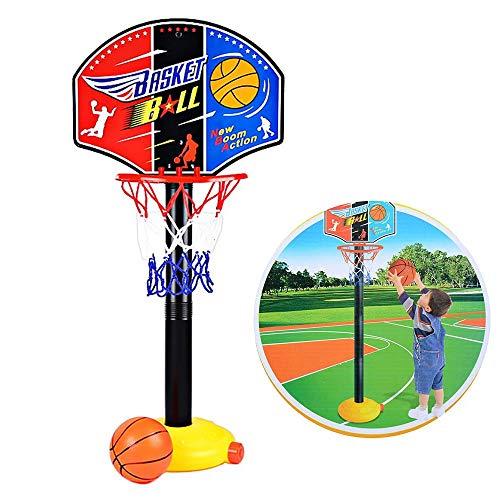 WP Kids Mini Basketball Toy, Qiyuxow Adjustable Basketball Hoop Stand Sport Set for Boys Girls Outdoor Indoor Sports Train Player