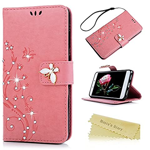 Mavis's Diary P8 Lite 2017 Case ,Huawei P8 Lite Bling Flip Case 2017 Model - Glitter Gems Diamonds Crystal Butterfly Wallet PU Leather Flip Cover [Chic Flower Embossed] Silicone Back Holder Case Magnetic Closure Card Slots & Stand & Wrist Strap - Pink (Not for 2015 Model)