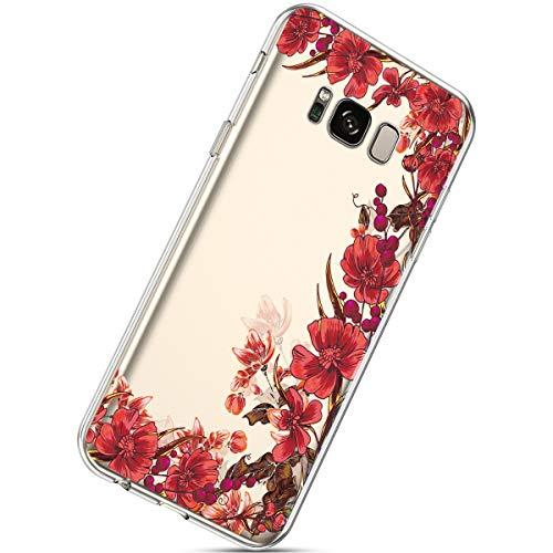 Handyhülle Kompatibel mit Samsung Galaxy S8 Durchsichtig Silikon Schutzhülle Kratzfeste Kristall Transparent Silikonhülle Ultra Dünn Case Handytasche TPU Bumper Backcover Schale Etui,Rot Blumen