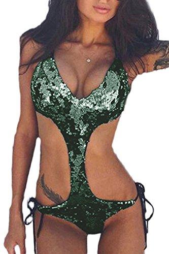 Frauen Heißen Pailletten Einen Bikini Aus Microkini Trikini Monokini Stücke Hohl Green S