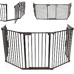 KIDUKU® Barrière de sécurité grille de protection métal Parc pour enfants Parc à bébé Grillage Sécurité enfants, Longueur de 300 cm, noir