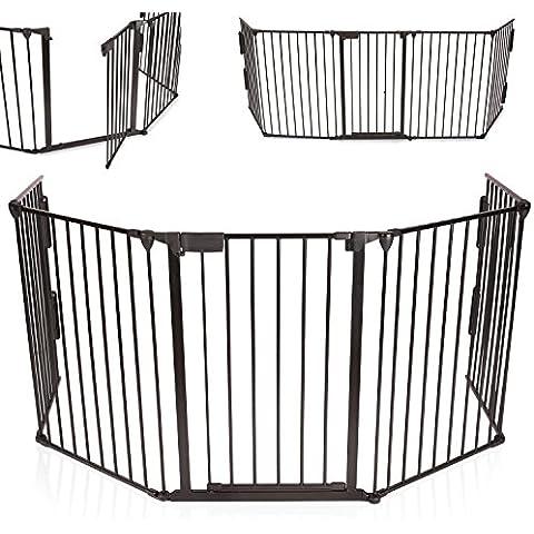 KIDUKU® Cancelletto in metallo di sicurezza per il camino, Box Bambino, Recinto, Cancello di sicurezza per la sicurezza dei Bambini, lunghezza 310 centimetri, nero