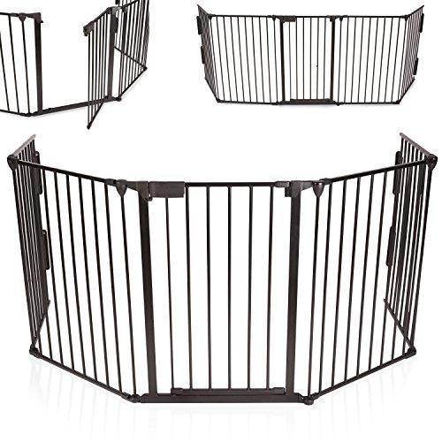 KIDUKU Barrera de seguridad Reja de protección Quitafuegos para chimenea parque para niños corralito, longitud de 310 cm, negro