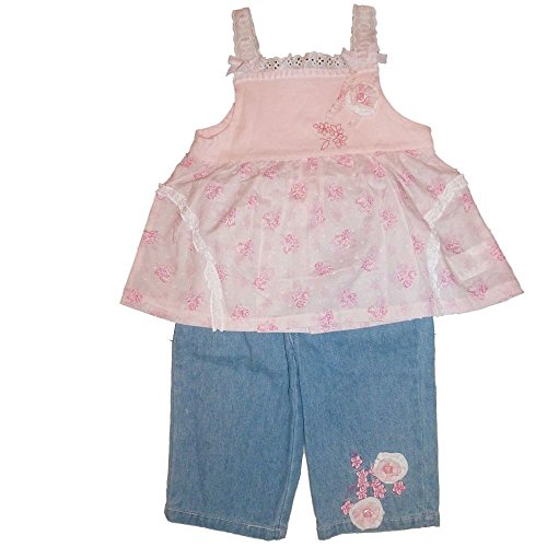 BabyQ Kinder Mädchen Sommer Outfit Träger Spitzen Top + Capri Jeans Hose (92) (Set Denim Capri-hosen)