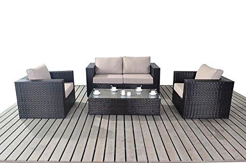 Moderne kleine Rattan Garten Sofa-Set, 2-Sitzer-Sofa mit 2Sesseln und Glas Couchtisch, Dicke Sitz-Kissen, Gartenmöbel Sets
