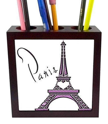 3drose PH _ 211115Gewebeband _ 1lila Gel Effect One 3D Eiffelturm mit dem Wort Paris Tile Stifthalter, 12,7cm