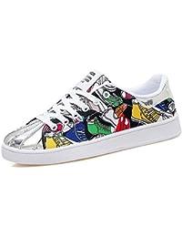 Unisex Bomba Zapatos Amantes Zapatos De Encaje Floral hasta Colormatch Placa Zapatos Graffiti Casual Sport Zapatos UE Tamaño 35-46,Whiteyellow,46EU