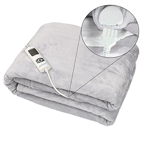 Manta eléctrica lavable Yatek de tacto super confortable y color gris  con 180 x 130 cms y 160W de potencia  tacto suave y sedoso