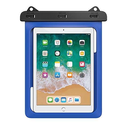 MoKo Wasserdichte Hülle, wasserdicht Tablethülle PC Schutzhülle Tasche für iPad Mini 2019, iPad 9.7, Samsung Tab A 10/Tab A 9.7/Tab E 9.6/Tab S2 S3 9.7, bis zu 10 Zoll Tablets - IPX8, Blau