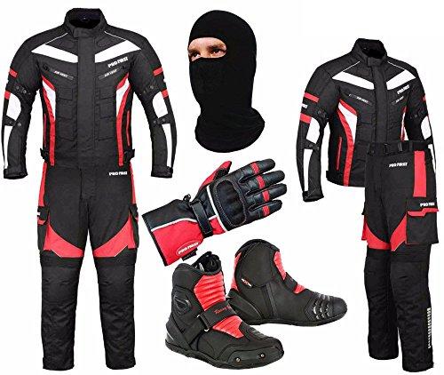 Rüstung Handschuhe (Ein komplettes Set von wasserdichtem Motorrad 2 Stück Anzug Motorrad Moped Getriebe in Cordura Stoff mit CE-Zulassung Rüstung - Jacke + Hose + Kurze Stiefeletten + Handschuhe + Sturmhaube (Red - X-Large))