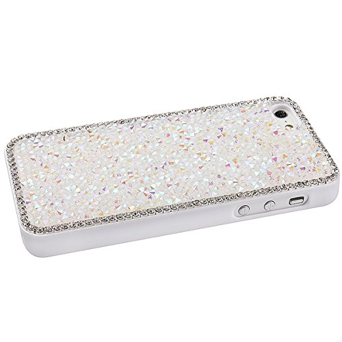 Etche Luxe iphone 6 Plus Coque, Hard Case pour iphone 6 5.5 pouces,Sparkly Bling clouté strass diamant dur Retour Case pour Apple iphone 6 Plus,iphone 6 Plus scintillement de Bling dur de couverture p Blanc