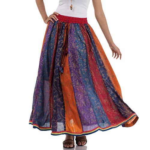 Tribal Indien Von Kostüm - Langer Hippie Patchwork Gypsy Zigeuner Rock