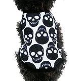 Ropa Perros,Xinan Ropa del Gato Pequeña Cráneo Camiseta Ropa de Halloween Doggy Clothes (XS)
