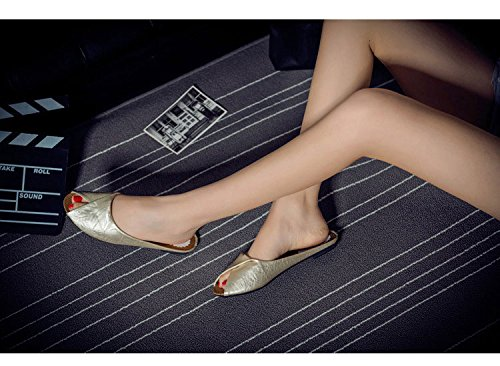Gaorui Damen Sommer beiläufige Hausschuhe Kunstleder Strand Sandals peeptoe Weiß Weiß