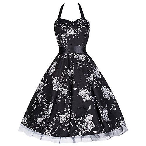 Pretty Kitty vestito anni 50, nero, allacciato al collo, motivo a fiori bianchi Nero