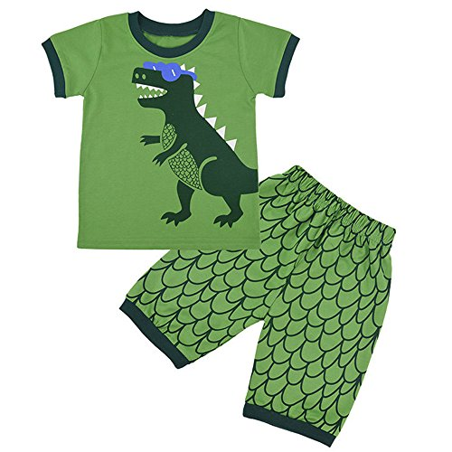 Children Kids Dinosaur Car Boys Pajamas Sets Baby 100% Cotton Pjs Sleepwear T Shirt & Shorts Pants Pyjamas Sets Nightwear Outfit UK Size 1 to 7 Years
