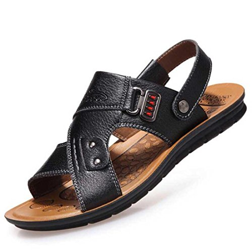 Men's Slip On Pu Leather Casual Sandals Black