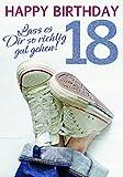Komma3 Glitter 18 Geburtstag Karte Grußkarte Richtig gut gehen 16x11cm