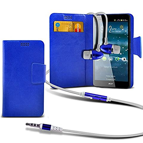 ( Blue +Earphones) Case for DOOGEE X3 case cover pouch High Quality Thin Faux Leather Suction Pad Wallet case Cover Skin With Credit/Debit Card Slots With Premium Quality in Ear Buds Stereo Hands Free Headphones Headset with Built in Micro phone Mic and On-Off Button DOOGEE X3 case by i-Tronixs