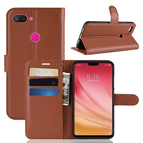 Jonmao Xiaomi Mi8 Youth / Mi8 Lite Hülle, Braun Wallet Handyhülle Qualität Magnetic Flip PU Leder Stand Schutzhülle für Xiaomi Mi8 Youth / Mi8 Lite
