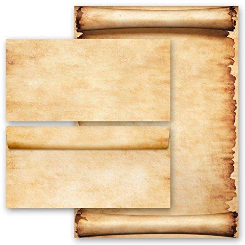 20 pezzi set completo pergamena 10 fogli di carta da lettera e 10 buste din lang (senza finestra)