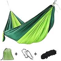 Goodlee Hamaca portátil simple y doble para acampar, ligera hamaca de paracaídas de nylon con correas para viajes, camping, mochilero y más.