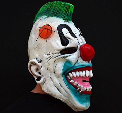 Unheimlich gruselig Halloween Clown böse Kostüm Latex-Maske - Punked (Böse Unheimlich Clown)