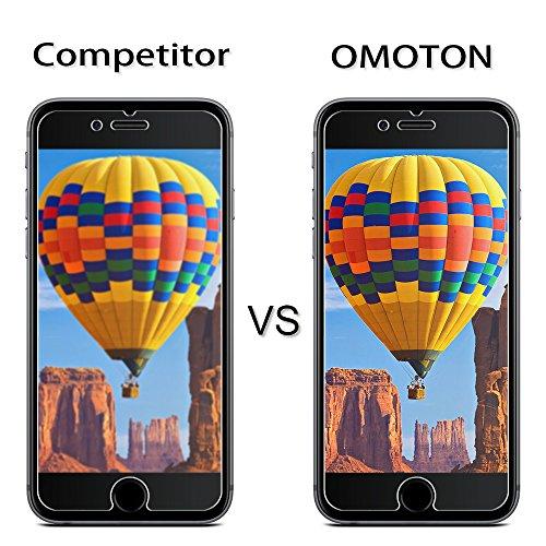 [2 Stück] OMOTON Panzerglas Displayschutzfolie für iPhone 6s und iPhone 6, 9H Härte, Anti-Kratzen, Anti-Öl, Anti-Bläschen, lebenslange Garantie - 5