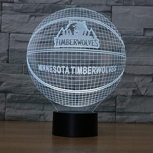 Yangll 3D LED Nachtlicht Minnesota Timberwolves USB Berührungsschalter Amerikanischen Basketball Club Tischlampe Luminaria De Mesa Wohnkultur