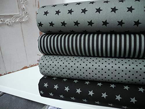 Qjutie Lottashaus 4X Stoffe 50x70cm Zuschnitte 100% Baumwolle Stoffpaket Pistazie Schwarz Grün Streifen Tupfen Sterne Patchwork Stoffkombi