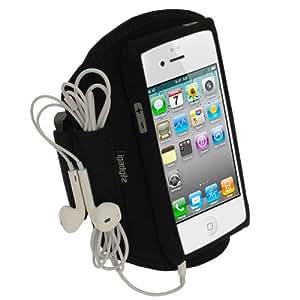 igadgitz Noir Brassard Sports Résistant à L'eau pour Apple iPhone 5 5S 5C SE Armband Jogging Salle de Gym