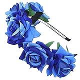AWAYTR niña novia flores corona cinta pelo guirnalda de flores Diadema pieza para Boda partes Halloween cabeza. azul cobalto Talla única