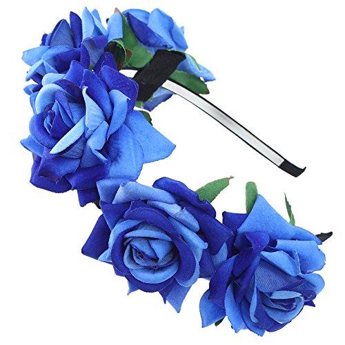 AWAYTR Mädchen Braut Blumenkrone Stirnband Haarband Blumen Girlande Kopfstück zum Hochzeit Parteien (Königsblau)