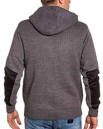 BLZ jeans - Weste grau Mann Reißverschluss dicke Gitter und gefugt Grau