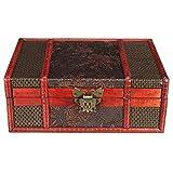 Vintage Schatzkiste Kleinmöbel mit Metallbeschlägen Holzbox Schmuckkoffer Holz mit Schloss