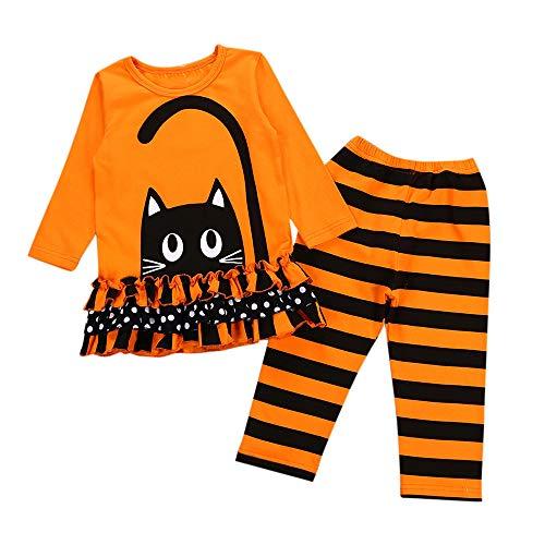 Riou Kinder Langarm Halloween Kostüm Top Set Baby Kleidung Set Kleinkind Baby Mädchen Katze Kleider Tops Gestreiften Hosen Halloween Kostüm Outfits Set (130, Orange)