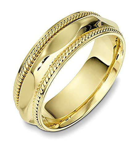 9ct Yellow Gold, Concave Polished Cable 7MM Wedding Band (sz Z+3)