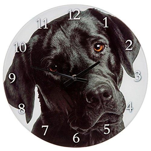 Schwarz lab 17cm Glas Uhr-Wanduhr/Mantel Uhr (57654)