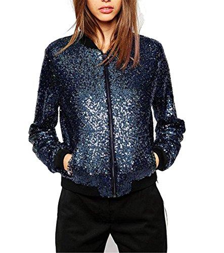 IWFREE Damen Jacke Herbst Bomber Jacke Piloten Baseball Mantel Outwear Tops Coat Bomberjacke Kurz Jacke mit Stehkragen Outwear Pailletten