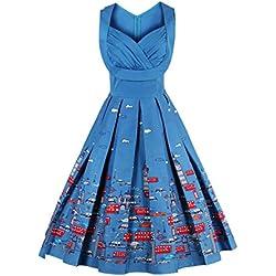 VKStar - Vestido - Trapecio - Floral - para Mujer Azul Azul X-Large