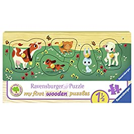 Ravensburger Italy-00.003.235 My First Wooden Puzzle I Miei Amici Animali, 03235