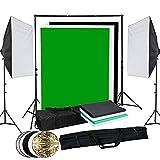 OUBO Profi Fotostudio Set Studioleuchte Studiosets Hintergrundsystem inkl. 4X Hintergrund(Schwarz, 2X Weiß, Grün) 5-in-1 Reflektor Ø60cm Lampenstativ Softbox Fotografie mit Schutztasche