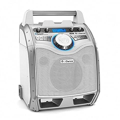 iDance XD100white Mobiler Bluetooth-Lautsprecher Musik-Anlage mit Hand-Mikrofon 100W LCD-Display Akku MP3-fähiger USB-Port