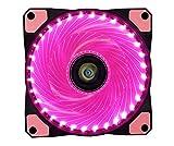 CONISY Ultra Silencieux PC 120 mm LED Ventilateur Refroidissement de Ordinateur - Single Pack Rose