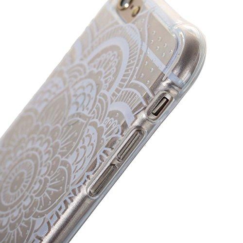 iPhone 6 Hülle,iPhone 6S Tasche - Felfy Ultra Slim Weicher Gel Flexible TPU Case Schutzhülle Silikon Crystal Case Durchsichtig Muster Giraffe Plum Blume Tiger Transparent Silikon Ultradünnen Kratzfest Weiße Blumen
