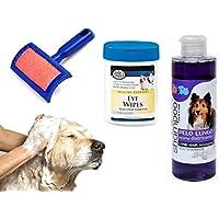 Kit pulizia completa cani shampoo salviettine e spazzola cardatore varie tipologie .MWS (Pelo Lungo)